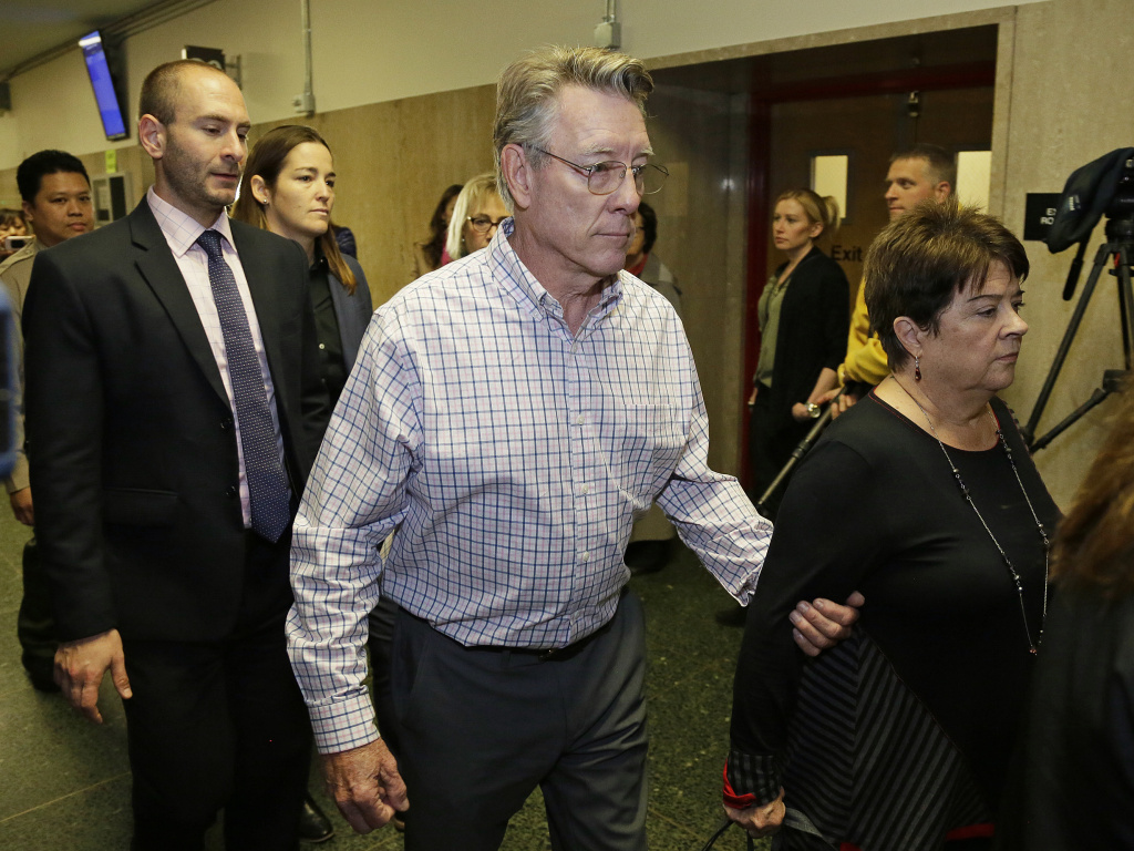 Jim and Liz Steinle, the parents of Kate Steinle, walk to a courtroom for closing arguments in the trial.