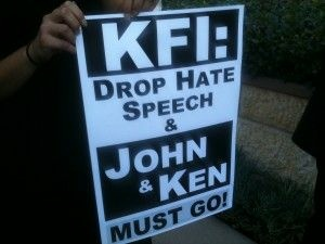 A protester's sign outside the Clear Channel offices in Burbank, Calif., Oct. 13, 2011