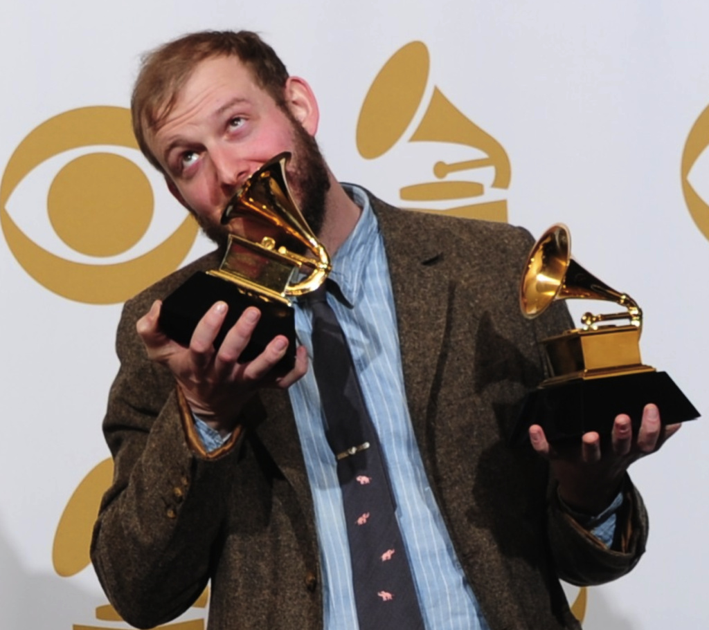 Apparently pop singers like Justin Vernon of Bon Iver (here with his 2 Grammys) are influential. Photo backstage at the 54th Grammy Awards in Los Angeles, California, February 12, 2012.