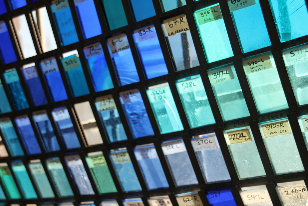 Shades of blue in the glass room at the Judson Studios.