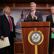 Sen. Lindsey Graham (from left), Sen. Bill Cassidy, Sen. Ron Johnson and Sen. John McCain, all Republicans, announced Thursday that they would not vote for a so-called skinny repeal of the Affordable Care Act without assurances from the House that the bill would go to conference.