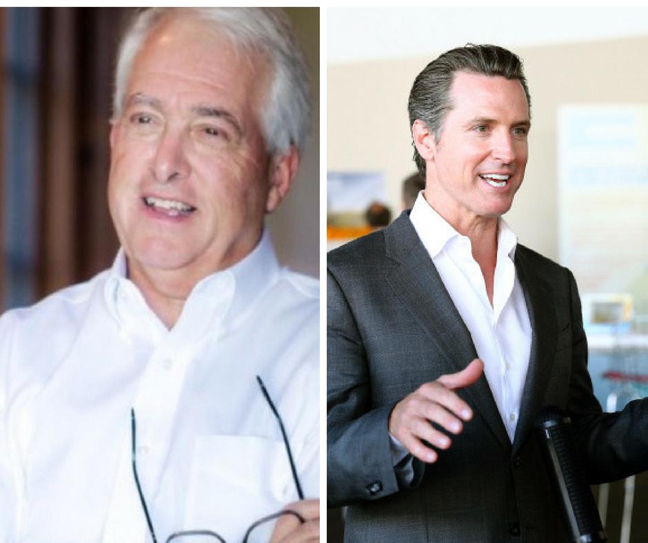 Republican gubernatorial candidate John Cox (left) and Democratic gubernatorial candidate Gavin Newsom (right).