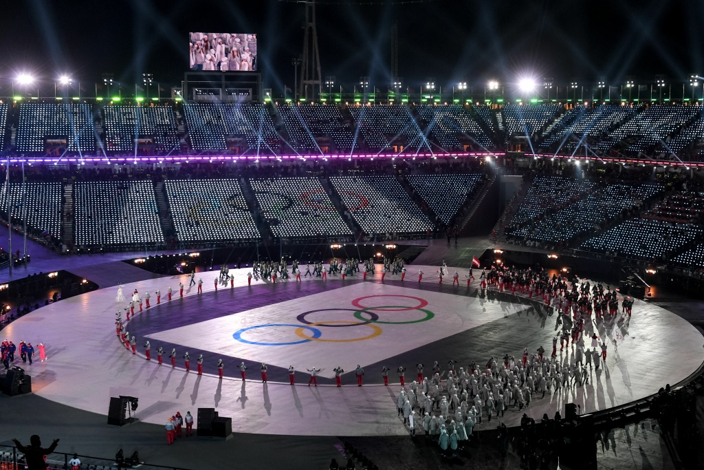 Delegations parade during the Opening Ceremony of the Pyeongchang 2018 Winter Olympics on February 9, 2018.
