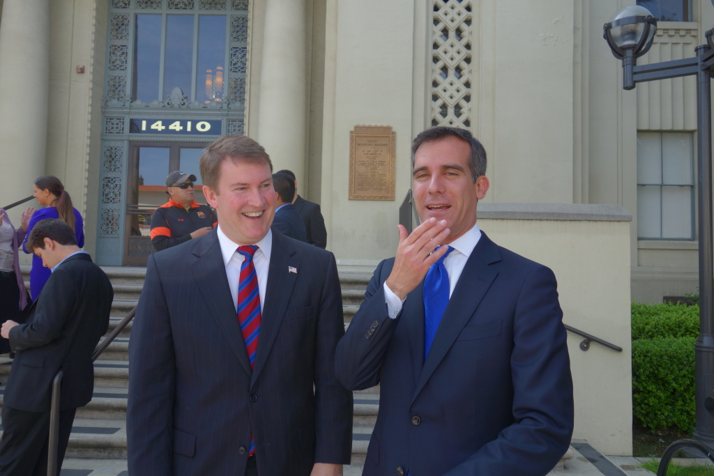 Kevin James, left, is the second of Eric Garcetti's former rivals-turned-backers to get a post in the new mayor's administration.