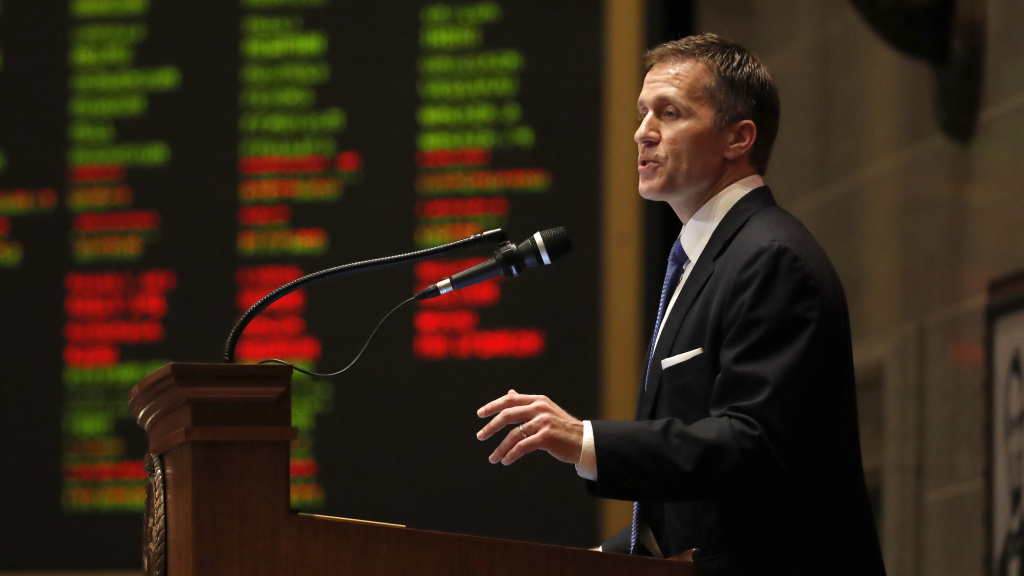 Missouri Gov. Eric Greitens delivers the annual State of the State address in January. Missouri lawmakers have called on him to resign, though he calls the case against him a