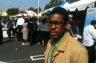 Trevon Porter waited in line on Aug. 31, 2011 for a jobs fair put on by the Congressional Black Caucus in L.A.