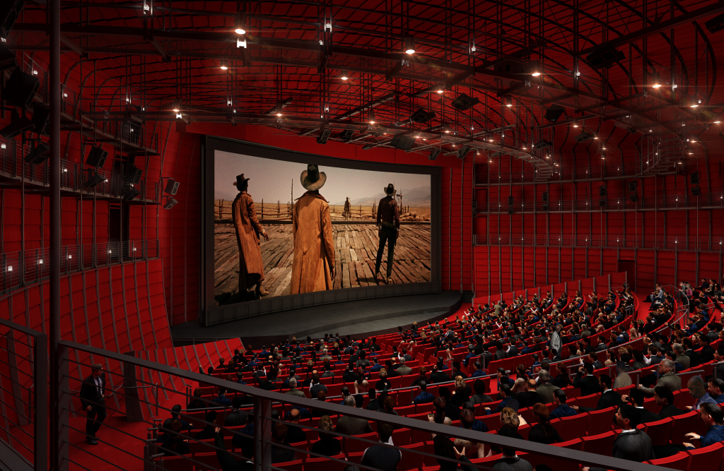 Rendering of a movie theater at the Academy Museum of Motion Pictures.
