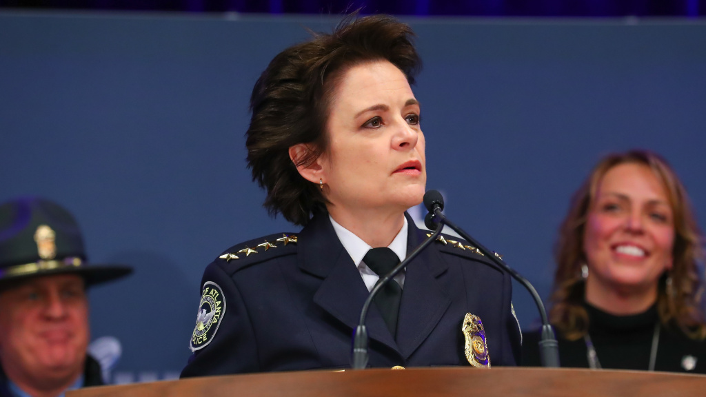 Atlanta Chief of Police Erika Shields during the security press conference during Super Bowl LIII week in January 2019. Shields resigned a day after police shot and killed a 27-year-old black man.