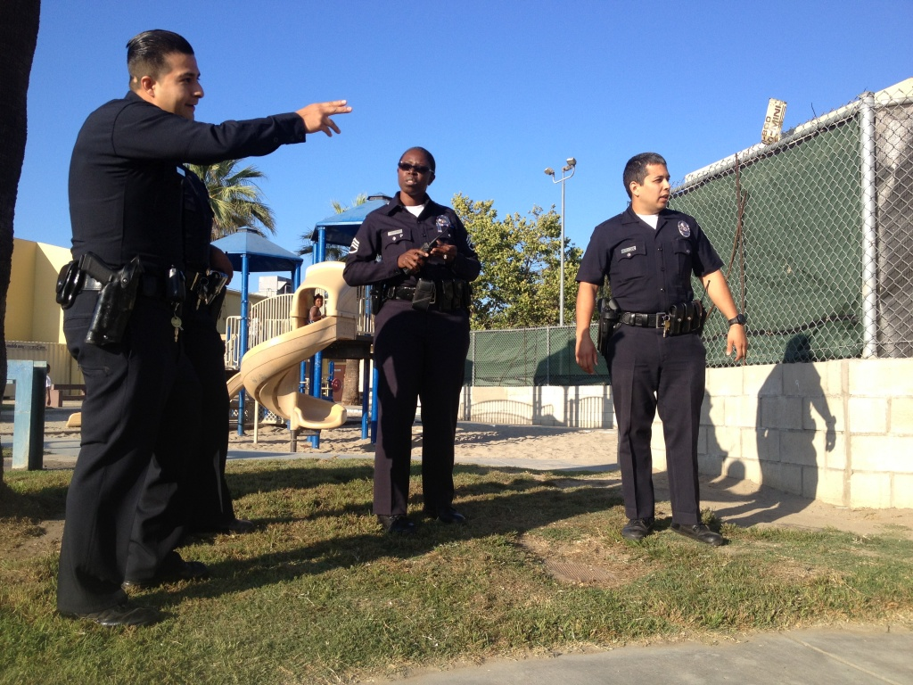 LAPD Sgt. Emada Tingirides mixes more traditional police work with building relationships in the Nickerson Gardens Housing Project in Watts, as part of the departments Community Safety Partnership program.