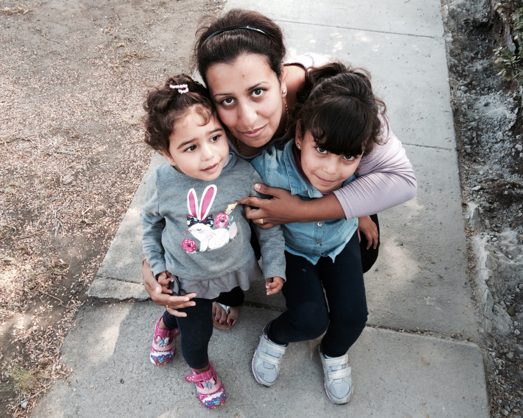 Dina Khalil accompanies her two young daughters to their early education classes at Shenandoah Elementary school in West LA. She is able to be with them in the classroom which greatly eases her anxiety about putting them into preschool.