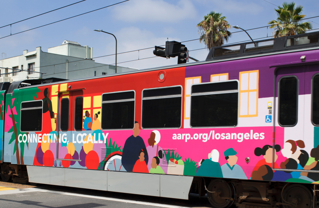 AARP commissioned this painting to wrap around an LA Metro train as a way of highlighting the importance of transit to older people. The organization collaborated on Metro's first