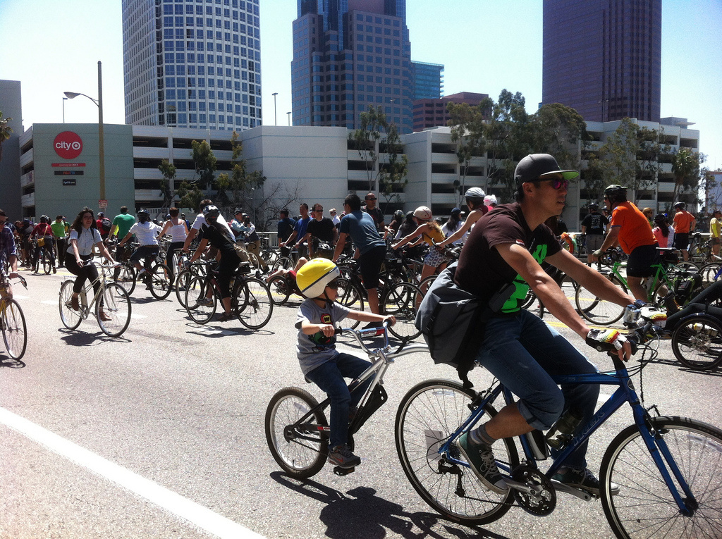 Cyclists took to the streets for CicLAvia on Sunday, April 21, 2012.