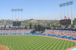 File photo of the outfield at Dodger Stadium, in Los Angeles, Calif.