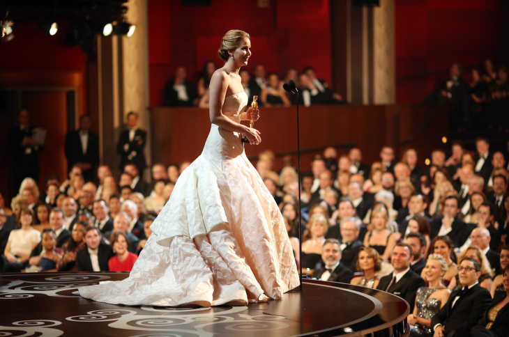 Jennifer Lawrence onstage after winning the award for Actress in a Leading Role during the Oscars held at the Dolby Theatre on February 24, 2013 in Hollywood, California.