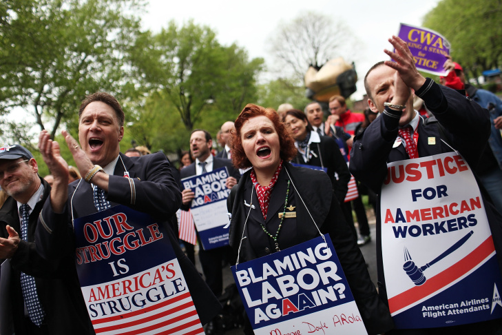 American Airlines Workers Rally Outside U.S. Bankruptcy Court