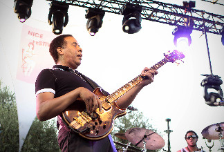 Stanley Clarke performs on the stage of the Nice's Jazz Festival on July 21, 2010 in Nice, southeastern France.