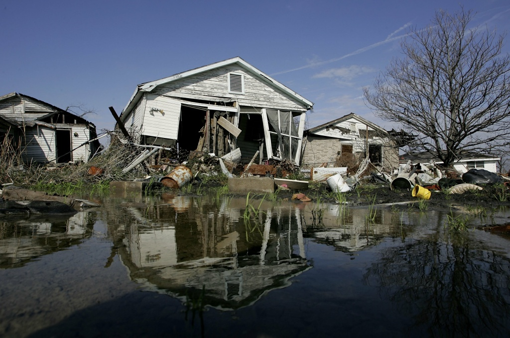 A damaged home is seen in the Lower Ninth Ward on February 22, 2006 in New Orleans, Louisiana.