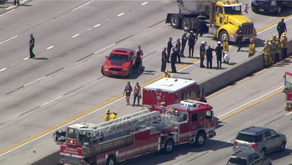 An LAPD motorcycle officer was involved in a crash on the 5 Freeway Tuesday afternoon, March 24, 2015.