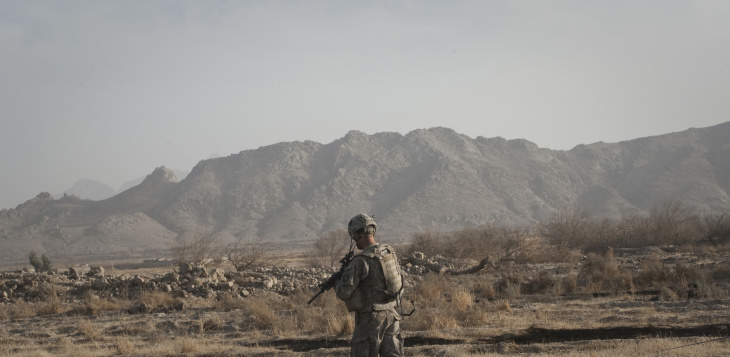 US sergeant on patrol in Afghanistan