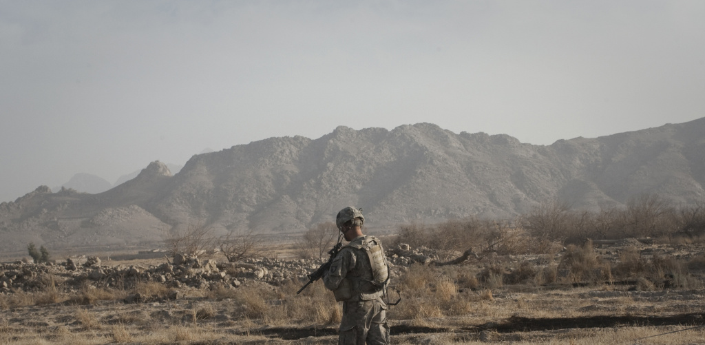 US Army soldier on patrol in Afghanistan.