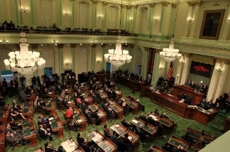 California Governor Jerry Brown delivers the State of the State address at the California State Capitol on January 31, 2011 in Sacramento, California.