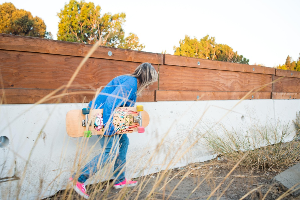 Skater Cindy Whitehead on the 405 Freeway during Carmageddon II.