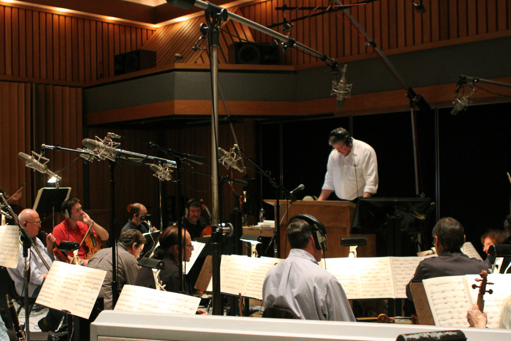 Mark Watters and the Los Angeles Chamber Orchestra prepare for another go at the score for 'Poor Papa.'