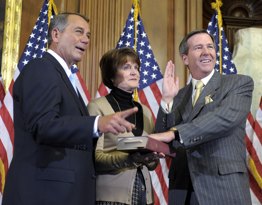 "In this Jan. 5, 2011, file photo, House Speaker John Boehner of Ohio reenacts the House swearing in of Rep. John Campbell, R-Calif., on Capitol Hill in Washington. The House's rabble-rousing Republican freshmen and tea partyers have loudly refused to cut a deal as the GOP battles President Barack Obama over the government's debt. Yet when it's time for Boehner to hunt votes for whatever accord he reaches with the White House, the House speaker will have a large pool of veteran GOP lawmakers to target. ""Some of us have seen this movie,"" said Campbell, a four-term member who said he wants to remain flexible. ""We know where it could go and all the things that could happen."