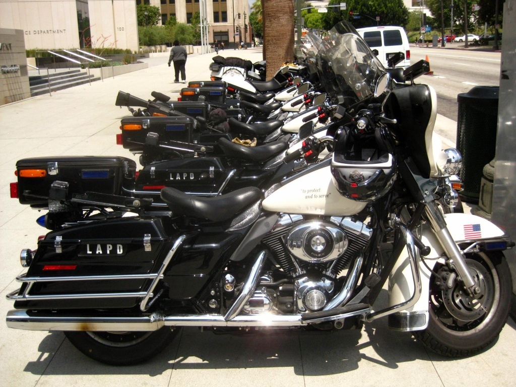 This file photo shows Harley Davidson motorcycles used by the Los Angeles Police Department. The brand is making a return to the California Highway Patrol after years of being passed over for BMWs.