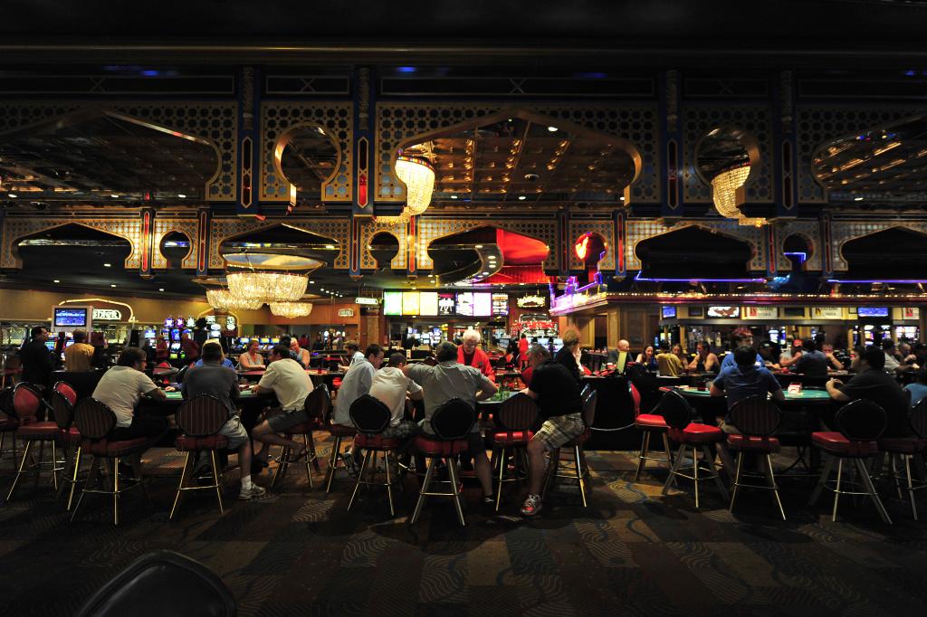 Guests gamble at the Sahara Hotel & Casino in Las Vegas on May 6, 2011.