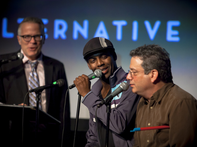 Bil Dwyer, Baron Vaughn and Andy Kindler doing improv as part of STARDUMB! at Riot LA 2015.