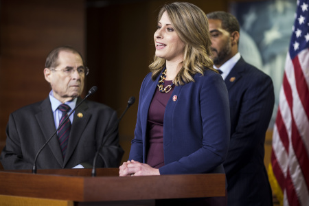 Rep. Katie Hill (D-CA) speaks during a news conference.