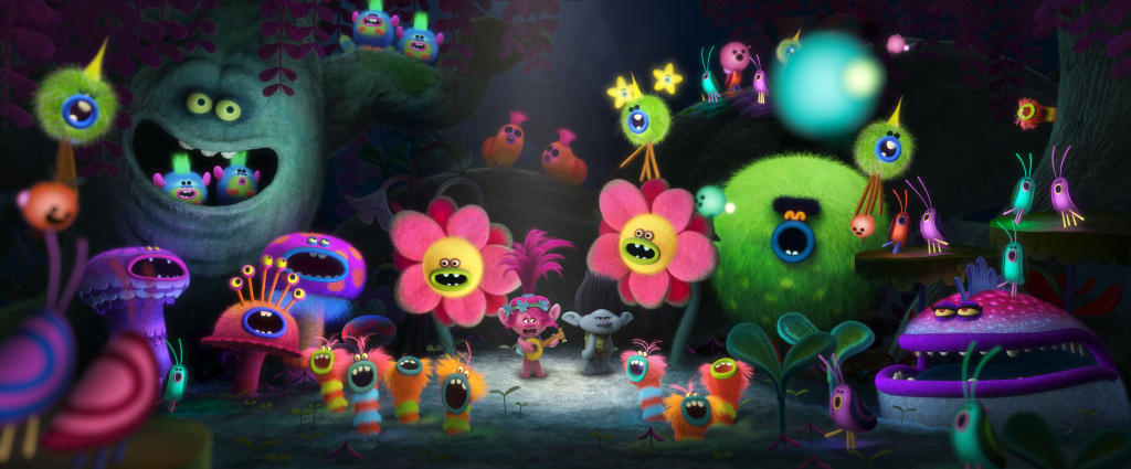 Poppy's (center left with guitar, voiced by Anna Kendrick) rendition of