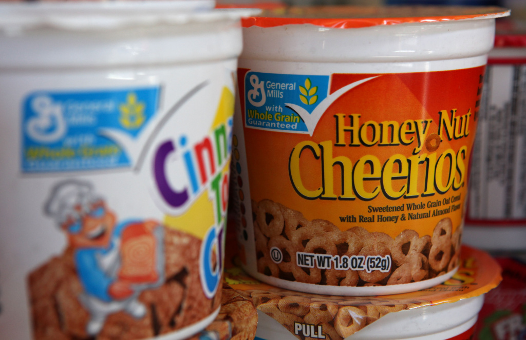 Single serving containers of cereal made by General Mills sit on the shelf at a grocery store September 23, 2009 in Berkeley, California.