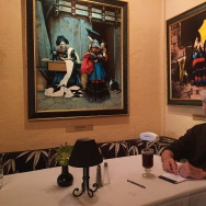 Mel Haber at his corner table at Melvyn's restaurant in Palm Springs.