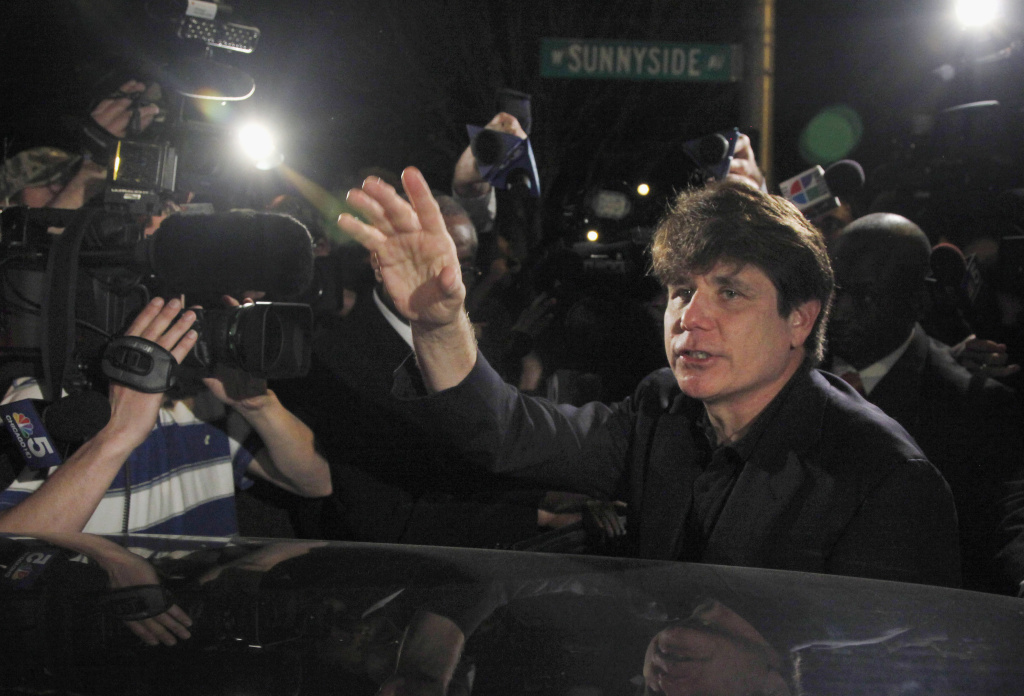 Former Illinois Gov. Rod Blagojevich departs his Chicago home in 2012. On Tuesday, Trump commuted the 14-year sentence of Blagojevich, who has been serving a prison term after being convicted of corruption charges.