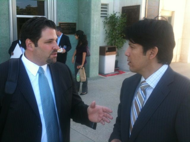 Former sports agent Josh Luchs, left, with State Senator Kevin de León