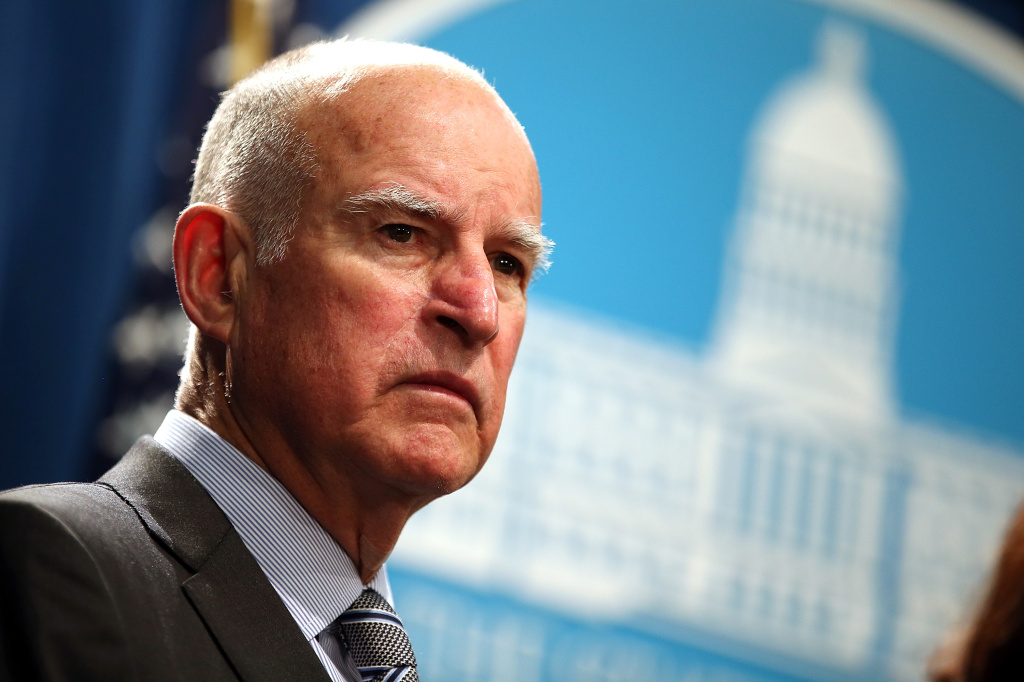 File: California Gov. Jerry Brown speaks during a news conference to announce emergency drought legislation on March 19, 2015 in Sacramento.