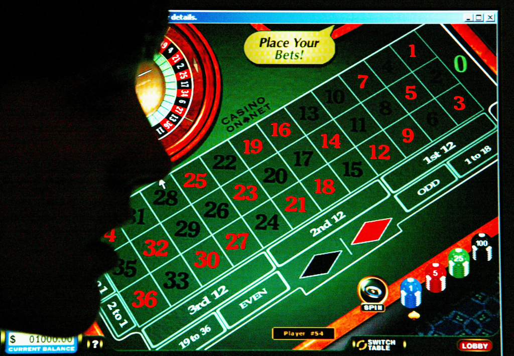 A woman looks at a casino website online.