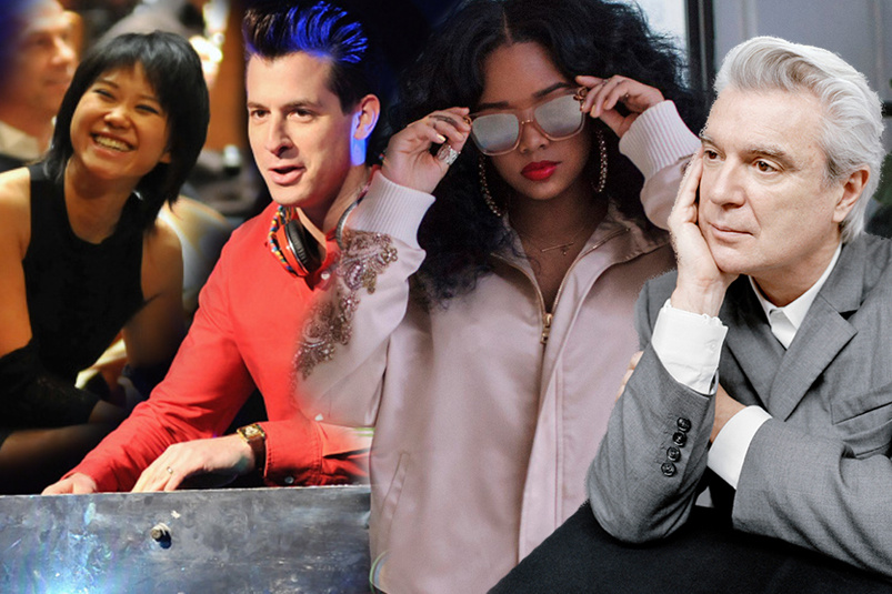 Grammy nominees include (L-R): Yuja Wang, Mark Ronson, H.E.R; and David Byrne.