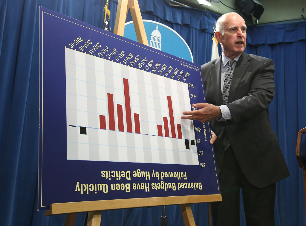 California Gov. Jerry Brown jokes with reporters by turning a budget chart upside as he discusses his revised state budget plan during a news conference at the Capitol in Sacramento, Calif., Thursday May 14, 2015.  Brown's $115.3 billion spending plan would send billions more to public schools and freeze in-state undergraduate tuition and establish a new state tax credit of the working poor.