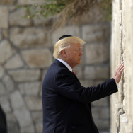 President Donald Trump visits the Western Wall, Monday, May 22, 2017, in Jerusalem. (AP Photo/Evan Vucci)