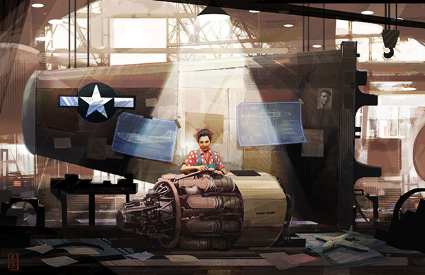 Riveting Concept Art by Tim Szabo, story by Miranda Sajdak. During WWII, a local prom queen's life is turned upside down when her fiancee is killed overseas. Determined to make sure that never happens again, the girl goes to work as an engineer, learning and perfecting her trade to do her part for the war effort.
