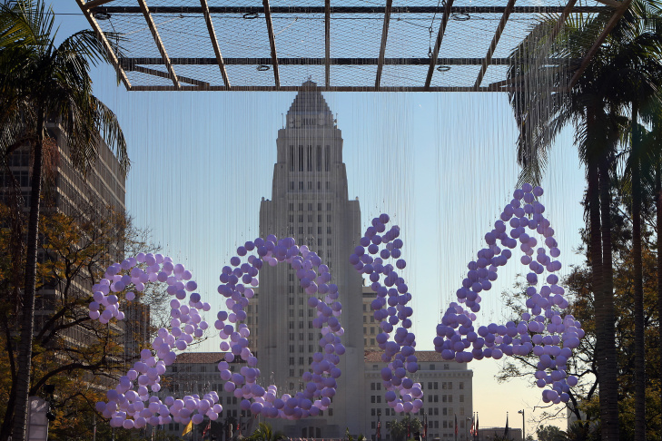 An art installation is displayed in Grand Park in front of City Hall for a New Year's Eve celebration on Dec. 31, 2013.