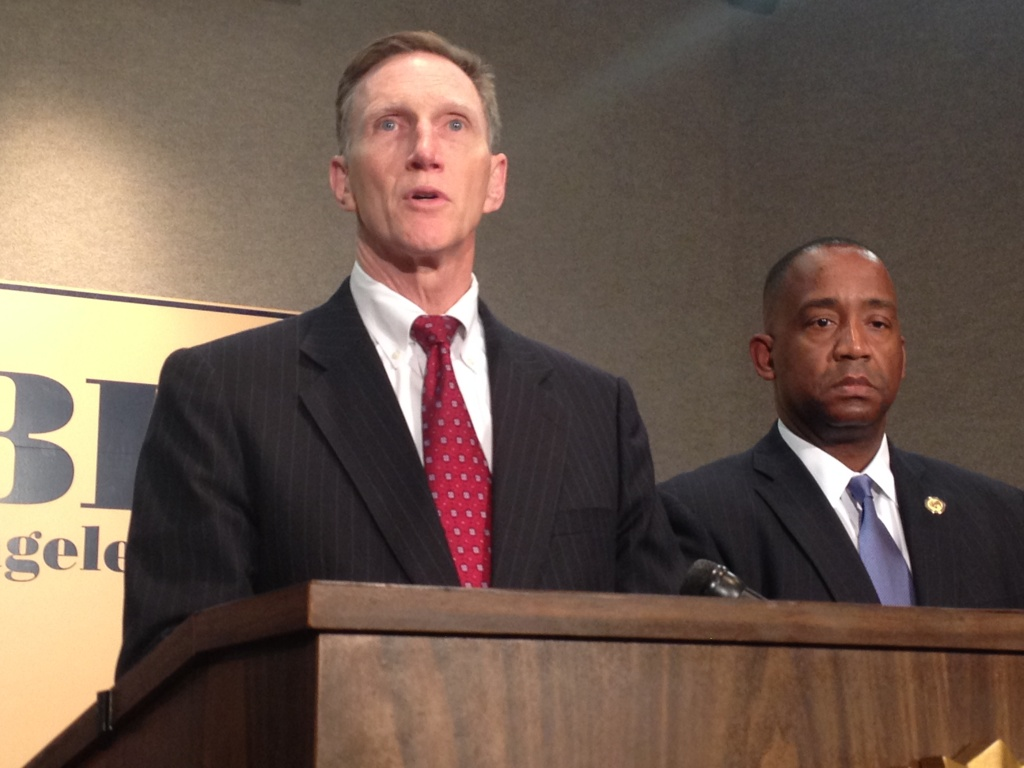 John Pistole, head of the Transportation Security Administration, addresses questions from the media at an FBI news conference following the November 2013 shooting at Los Angeles International Airport that killed one TSA officer and injured two others.