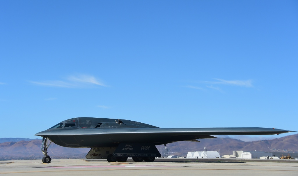 A B-2 Stealth Bomber pulls up on the runway after landing at the Palmdale Aircraft Integration Center of Excellence on July 17, 2014.