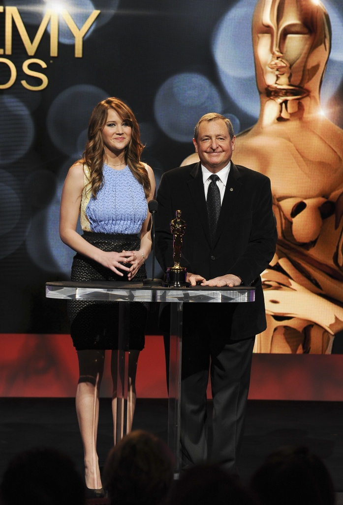 Actress Jennifer Lawrence and Tom Sherak, president of the Academy of Motion Picture Arts and Sciences, announce the nominees at the 84th Academy Awards Nominations Announcement, January 24, 2012 at the Academy's Samuel Goldwyn Theater in Beverly Hills, California. Martin Scorsese's lavish 3D adventure