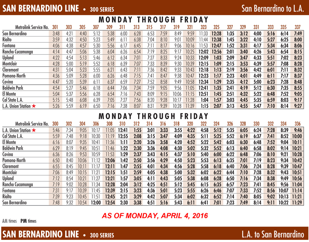 The updated Metrolink schedule for the San Bernardino Line.