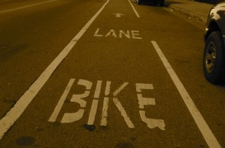 A bike lane on Avenue 50 in Los Angeles, California.