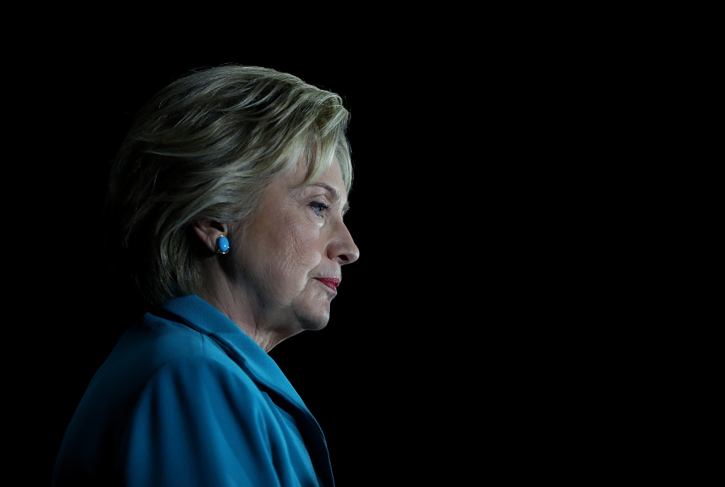 Democratic presidential candidate former Secretary of State Hillary Clinton looks on during a campaign event on May 24, 2016 in Commerce, California.
